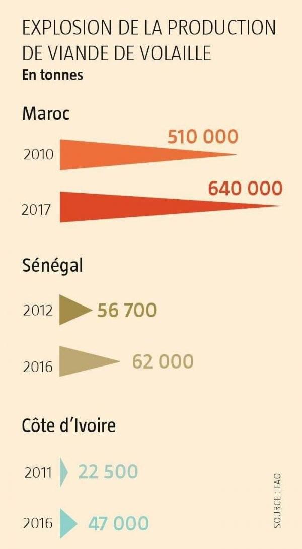 Evolutions de la production de poulets entre 2010 et 2017 pour 3 pays africains